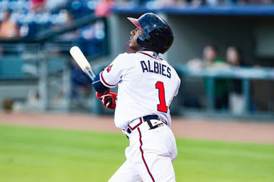 Ozzie Albies hits for the Gwinnett Braves.